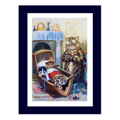 Gatitos en la cuna tarjeta postal