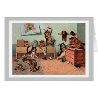 Gatitos en la sala de clase - gatos de Louis Wain Tarjeta De Felicitación