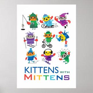 Gatitos en manoplas póster