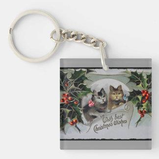 Gatitos en navidad del acebo llavero cuadrado acrílico a doble cara