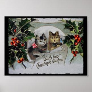 Gatitos en navidad del acebo póster