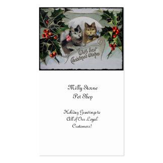Gatitos en navidad del acebo tarjetas de visita