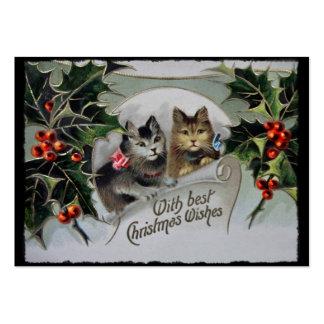 Gatitos en navidad del acebo tarjetas de visita grandes