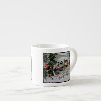 Gatitos en navidad del acebo taza espresso