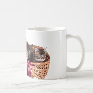 gatitos en una cesta de mimbre taza básica blanca