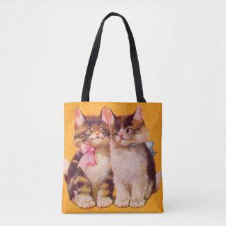 gatitos floofy adorables de los años 30 bolsa de tela