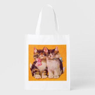 gatitos floofy adorables de los años 30 bolsa reutilizable