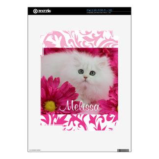 Gatitos, gatos, rosa, flores, monograma calcomanía para iPad 2