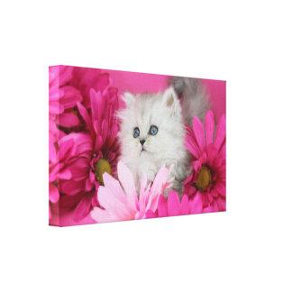 Gatitos, gatos, rosa, lunares impresion de lienzo