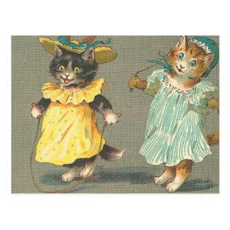 gatitos juguetones del vintage postales