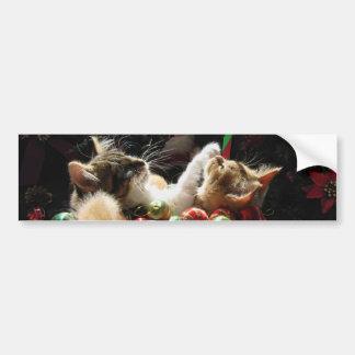 Gatitos lindos del navidad en amor en Navidad Eve Pegatina De Parachoque