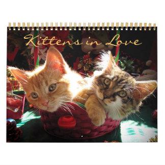 Gatitos lindos en amor, calendario 2014 del gato d