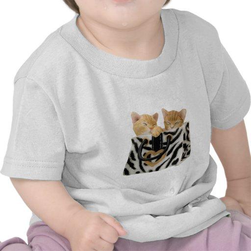 Gatitos lindos en bolso del estampado de zebra camiseta