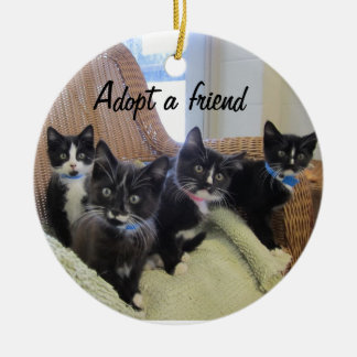 Gatitos negros y blancos ornamentos de navidad