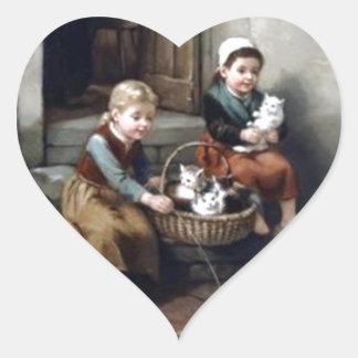 Gatitos Calcomanía De Corazón Personalizadas