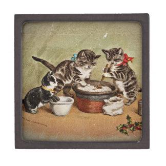 Gatitos que hacen el pudín del navidad caja de joyas de calidad