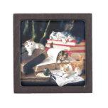 Gatitos que juegan en un escritorio caja de regalo de calidad