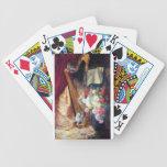 Gatitos que juegan la pintura de la música de la a barajas de cartas