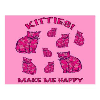 Gatitos rosados felices postales