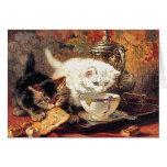 Gatitos - té para dos - pintura del gato tarjeta
