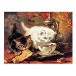 Gatitos - té para dos - pintura del gato tarjeta postal