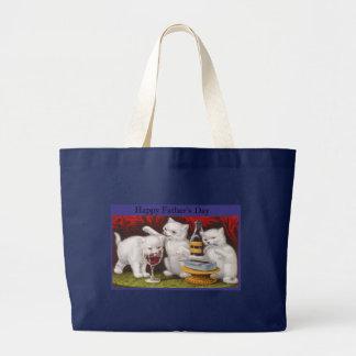 Gatitos traviesos felices del día de padres bolsa tela grande