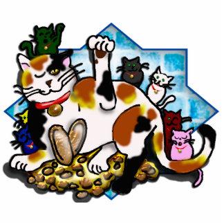 gatitos tricolores del neko with7 del maneki escultura fotográfica