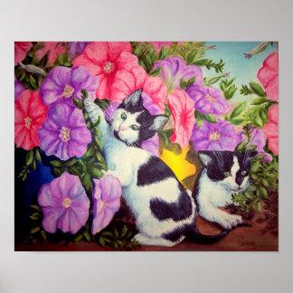 Gatitos y petunias de los pequeños bribones poster