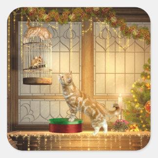 Gatitos y ratón del navidad pegatina cuadrada