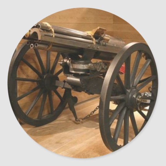 Gatlin Gun - Civil War Classic Round Sticker