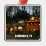 Gatlinburg céntrico, Tennessee Adorno Navideño Cuadrado De Metal