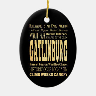 Gatlinburg City of Tennessee Typography Art Double-Sided Oval Ceramic Christmas Ornament
