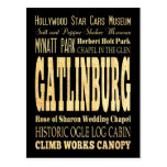 Gatlinburg City of Tennessee Typography Art Post Card