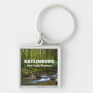 Gatlinburg - Great Smoky Mountains Silver-Colored Square Keychain