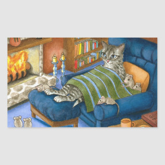 gato 459 pegatina rectangular