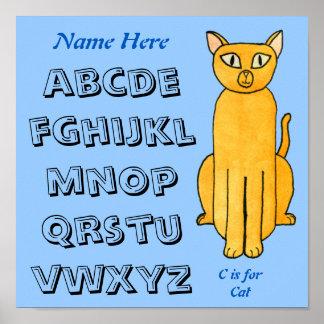 Gato - ABC, alfabeto Poster