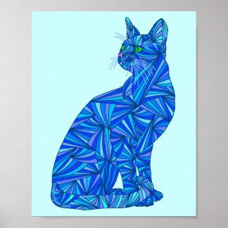 """Gato abstracto azul 8"""" x 10"""" impresión del arte impresiones"""