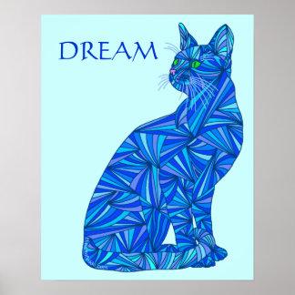 """Gato abstracto azul IDEAL 16"""" x 20"""" impresión del Póster"""