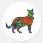 Gato abstracto etiqueta redonda