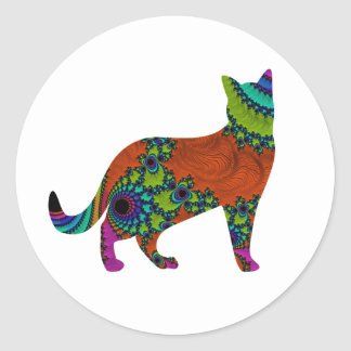Gato abstracto pegatina redonda