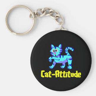 Gato-Actitud Llavero Redondo Tipo Pin