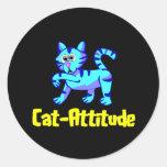 Gato-Actitud Pegatinas Redondas