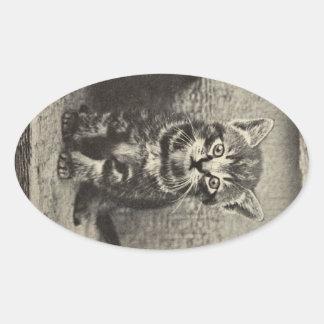 Gato adaptable del gatito del gatito del vintage pegatina ovalada