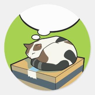 Gato adaptable dos el dormir pegatina redonda