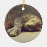 Gato adorable adorno navideño redondo de cerámica