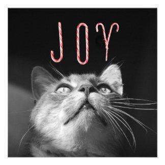 Gato adorable del navidad invitacion personalizada