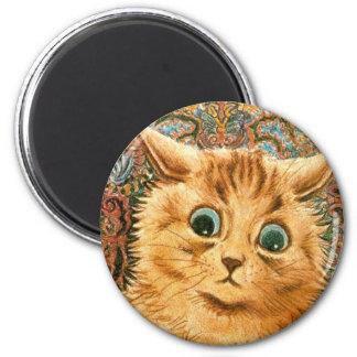 Gato adorable del papel pintado de Louis Wain Imán Redondo 5 Cm