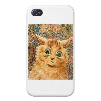Gato adorable del papel pintado de Louis Wain iPhone 4 Carcasa