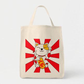 Gato afortunado (a) bolsa tela para la compra