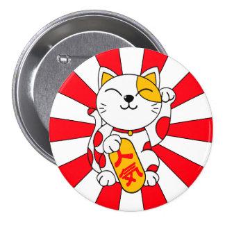 Gato afortunado (a) pin redondo de 3 pulgadas